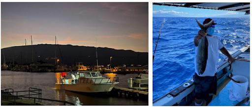 Early morning Maalaea Harbor, ready to go! Captain with an uku.