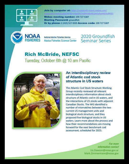 Alaska Fisheries Science Center 2020 Groundfish Seminar Series poster - Rich McBride