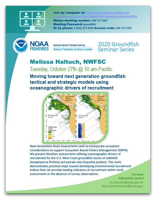 Poster for October 27, 2020 Groundfish Seminar Series event.