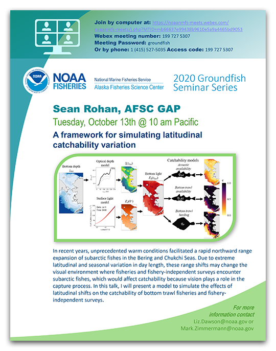 Alaska Fisheries Science Center 2020 Groundfish Seminar Series poster - Sean Rohan
