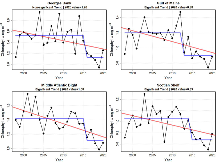 Graphs showing mean chlorophyll concentration for the first six months of the year from 1998 to 2020. Average chlorophyll concentrations during the first half of the year appear to have decreased in recent years in all subareas of the ecosystem, most dramatically in the Middle Atlantic Bight and Gulf of Maine areas. A change point in chlorophyll concentration occurred in all areas within the last decade or so.