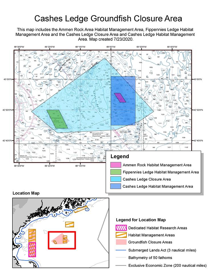 Cashes Ledge Groundfish Closure Area. This map includes the Ammen Rock Area Habitat Management Area, Fippennies Ledge Habitat Management Area and the Cashes Ledge Closure Area and Cashes Ledge Habitat Management Area. Map created 7/23/2020.