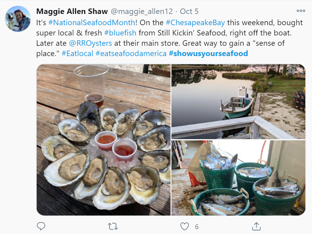 Twitter post with photos of oysters and bluefish