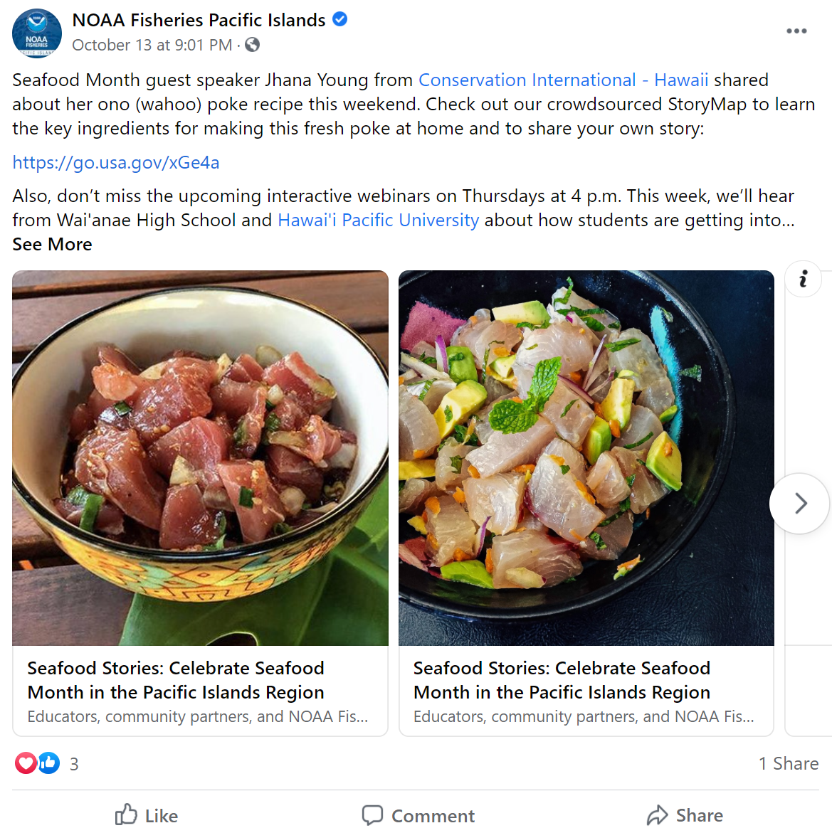 Facebook post from the Pacific Island region with information about a wahoo poke recipe