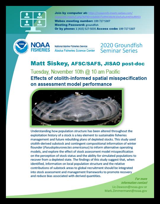 Matt Siskey 2020 Groundfish Seminar poster image.