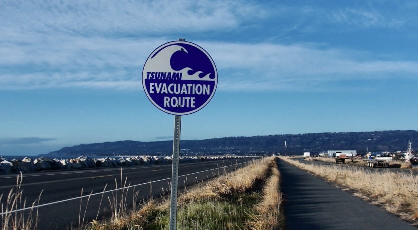 Tsunami evacuation sign by road in Homer, Alaska