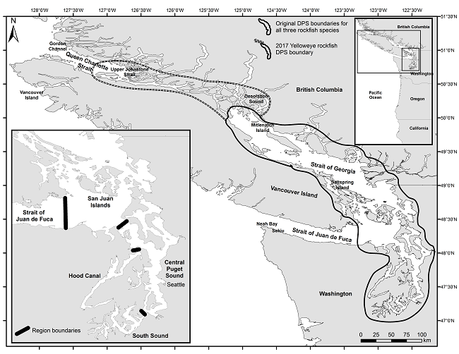 Figure 6 shows a map of the Puget Sound/Georgia Basin distinct population segment for each of three ESA-listed rockfish species in the original 2010 listing which extends around all of Puget Sound and the San Juan Islands with a western boundary at the Victoria sill located at the eastern edge of the Strait of Juan de Fuca and extend into British Columbia waters to the north about half way along the coast of Vancouver Island. The map also shows the expansion of the northern boundary that occurred in 2017 fu