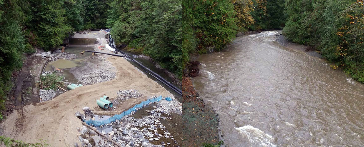 Left, a dam in process of removal. Right, a free-flowing river