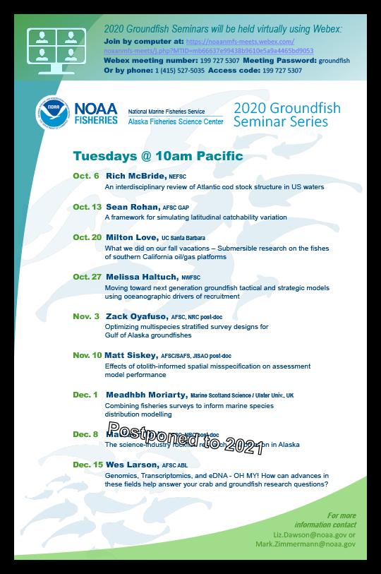 Alaska Fisheries Science Center 2020 Groundfish Seminar Series schedule poster