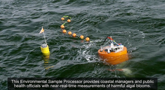 Image shows a view from above an Environmental Sample Processor after deployment into the ocean. This technology provides coastal managers and public health officials with near-real-time measurements of harmful algal blooms.