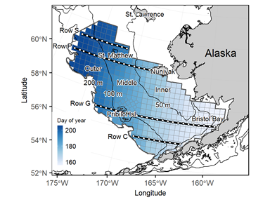 Map image of the Eastern Bering Sea showing frequency plot of bottom trawl survey area.
