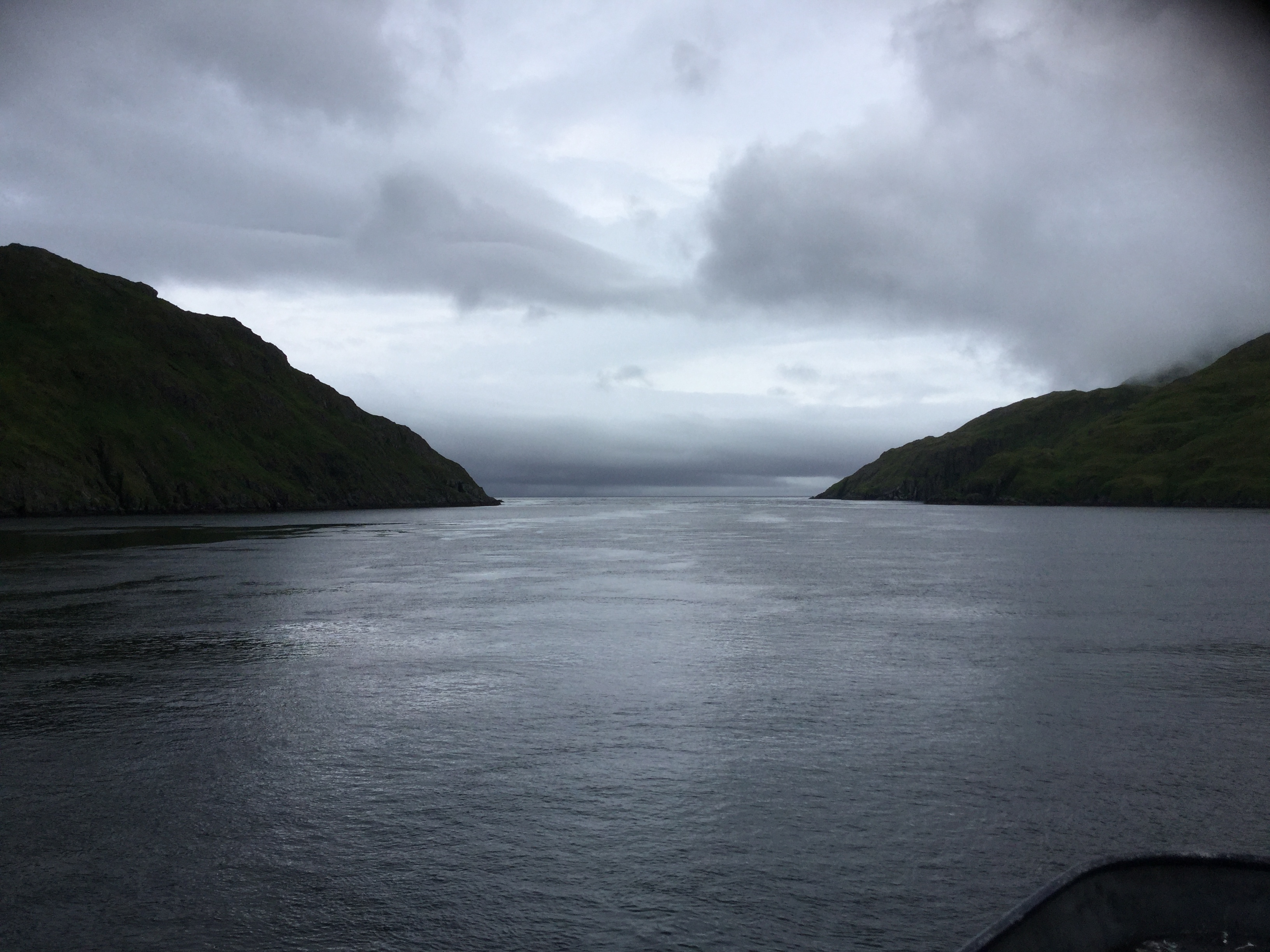 Photo of Kagalaska Strait from the bow of a boat.