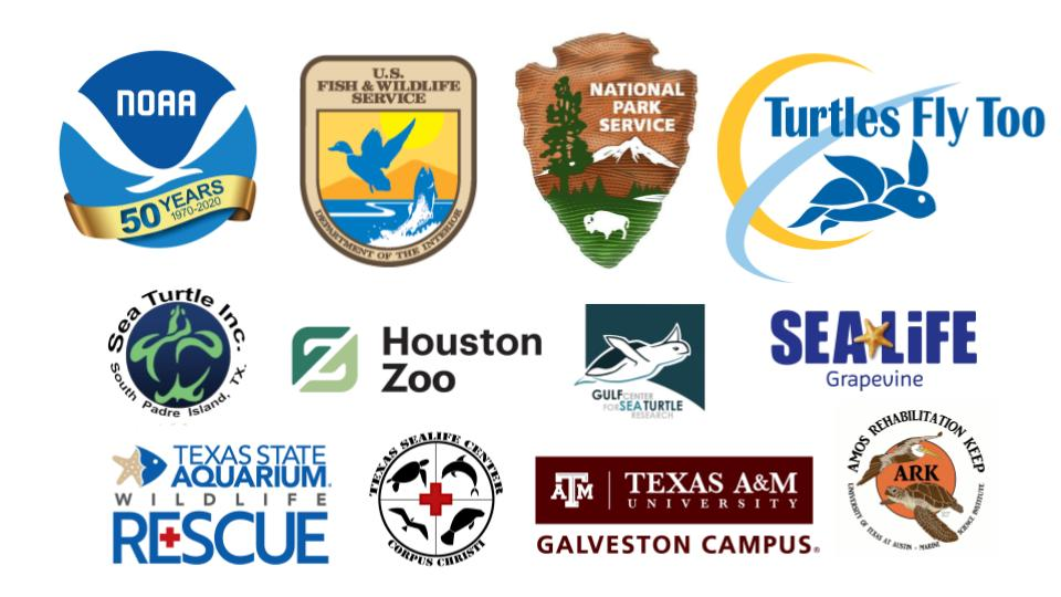 Logos from organizations involved in transport of sea turtles to Texas