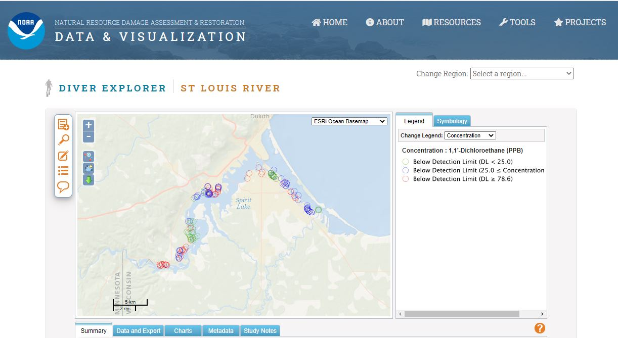An example of DIVER Explorer query results for St. Louis River sediment chemistry data.