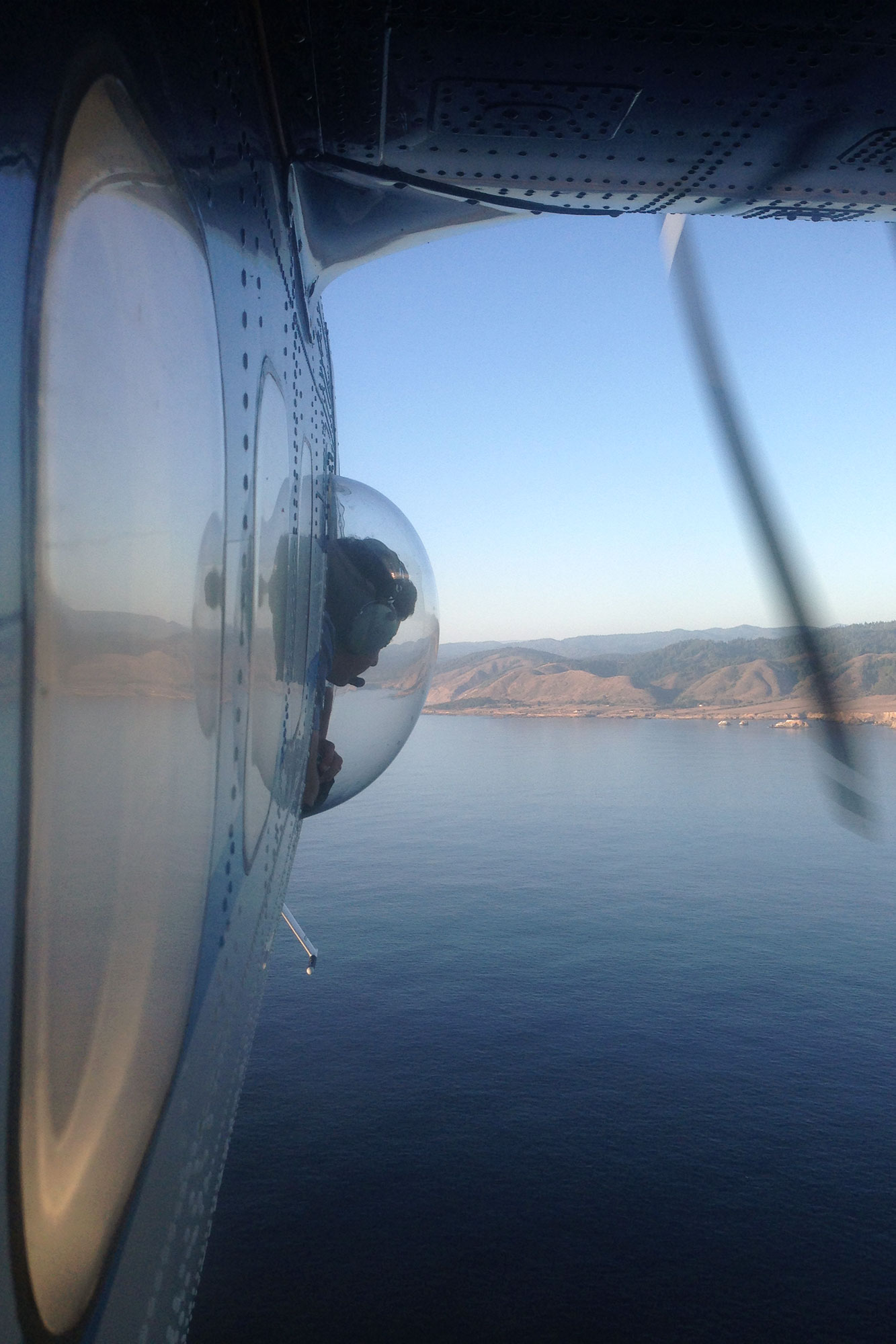 Scientist peering through airplane porthole at the ocean below