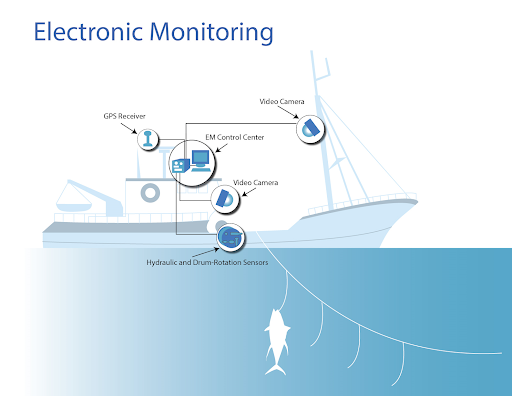 Graphic electronic monitoring system highlighting video camera, GPS recorder, EM control center, second video camera, hydraulic and drum rotation sensors with fish on the line.
