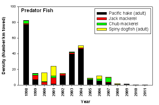 "Figure AD-01. Catches of potential piscivores that prey on juvenile salmon. Pacific hake numbers are usually very high during ""warm years"" such as the 1998 El Niño event and during the first 2 years of a warm-phase PDO (2003-2004). However, numbers were surprisingly low from 2008- present, despite the 2009 El Niño. Data shown are from the surveys of R. Emmett, conducted May-August 1998-present."