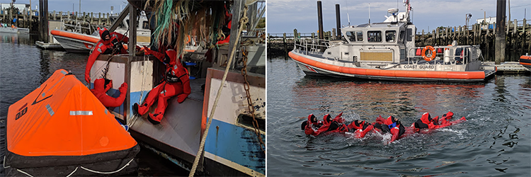 Observer candidates in gumby suits (imersion suits) exiting vessel. (left)  Observer candidates working with Coast Guard learning at sea safety skills. (right)