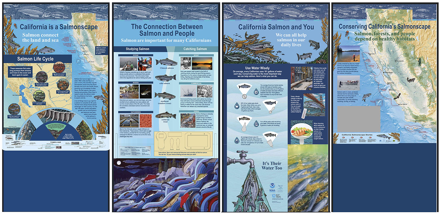 California Salmonscape exhibit panels
