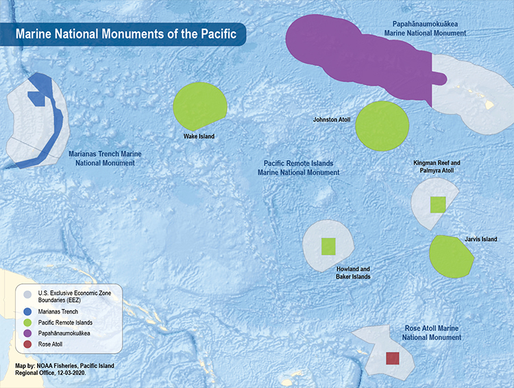 Marine national monument Pacific Islands map highlighting U.S. exclusive economic zone boundaries.
