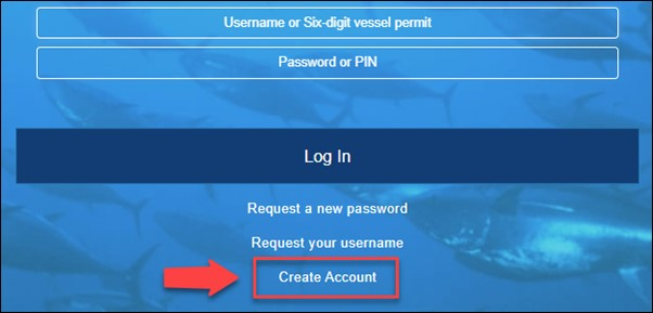 log in screen for GARFO fish online