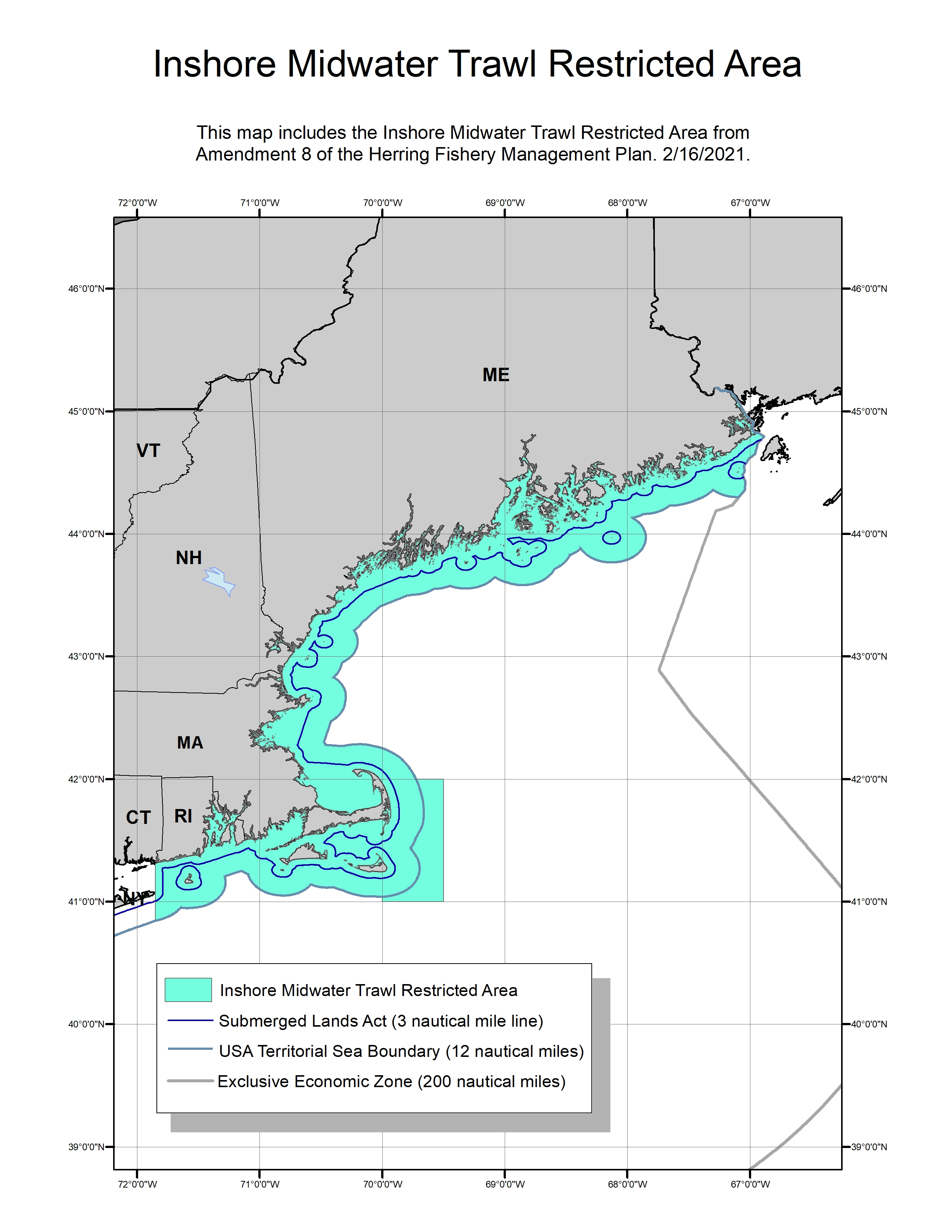 Inshore Midwater Trawl Restricted Area Map