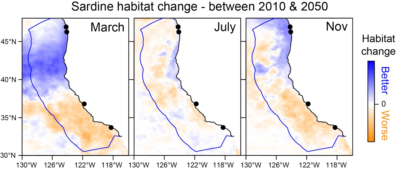 Heat maps showing predicted sardine habitat change