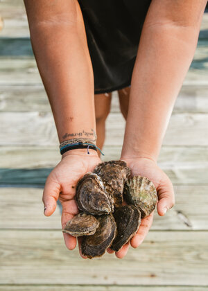 Imani Black's hands hold several raw oysters still in the shell.
