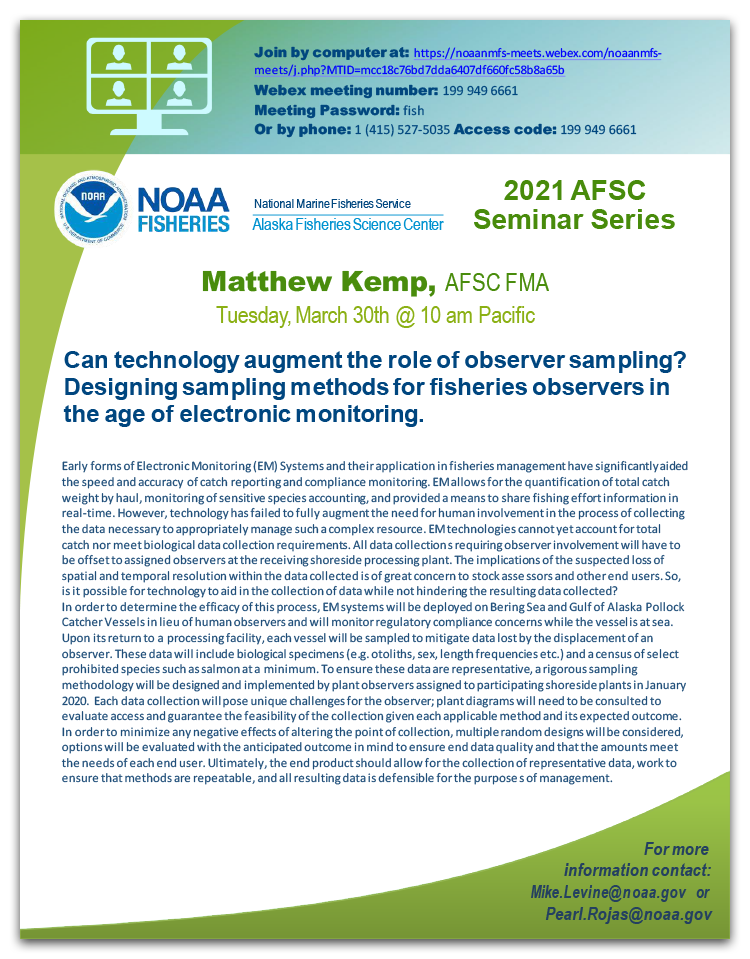 Alaska Fisheries Science Center Seminar poster for Matthew Kemp event.