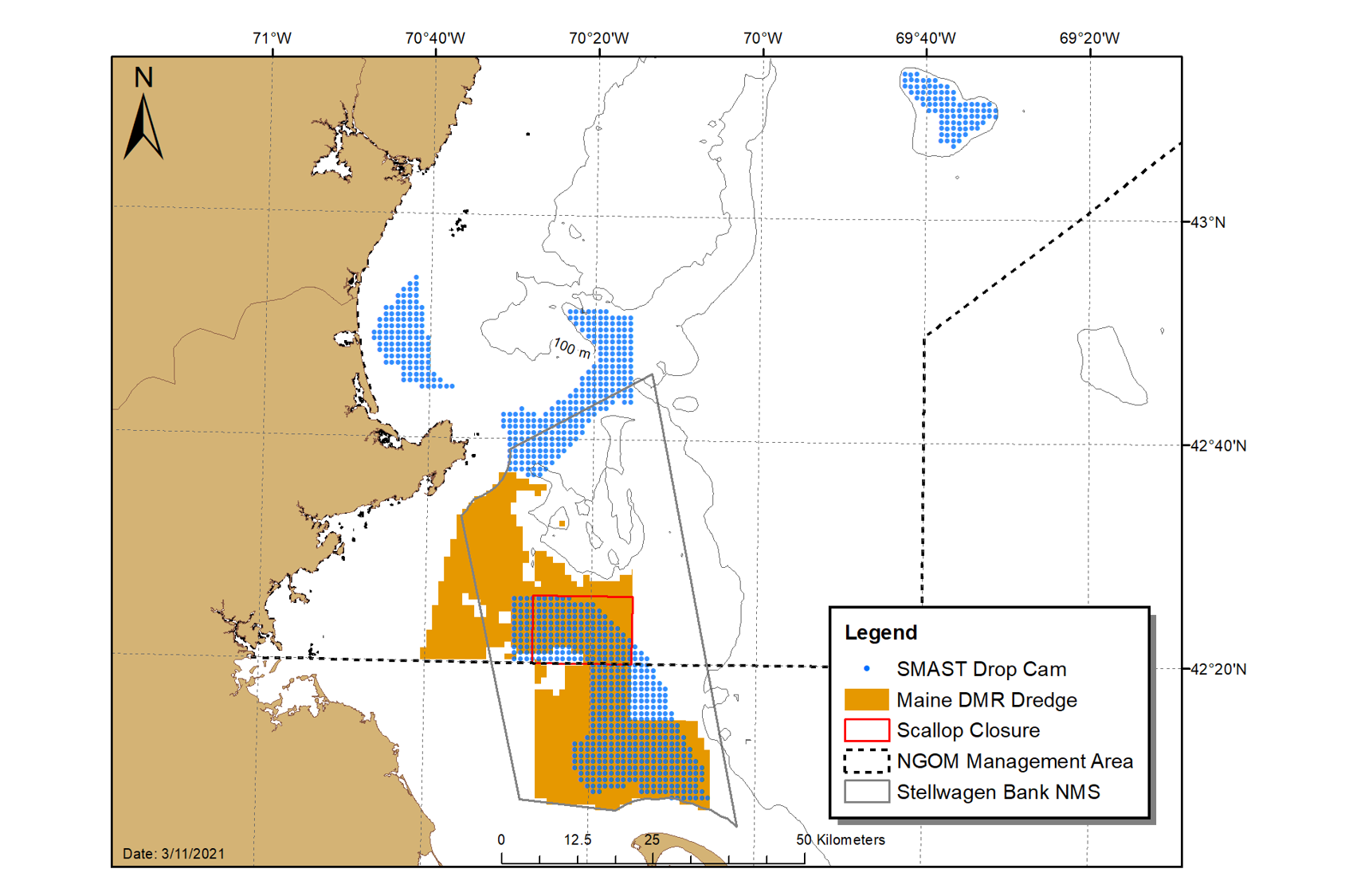 Map of the Gulf Of Maine showing management areas for scallops.