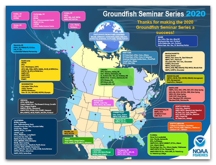 Map and lists of all the organizations and participants in the U.S. and Canada at the 2020 Groundfish Seminar Series.