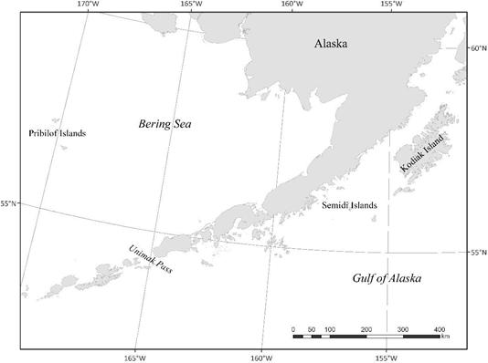 Map image of the Bering Sea, Aleutian Islands and Gulf of Alaska study area.