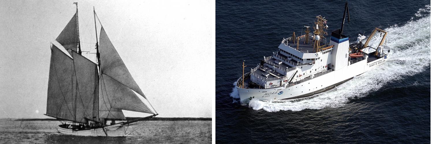 Left: Fish Commission Schooner Grampus, Right:  The NOAA Ship Henry B Bigelow