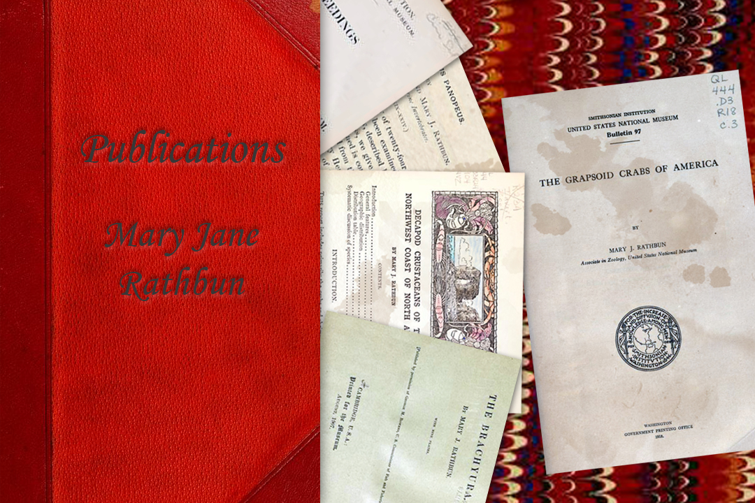 Five title pages from publications authored by Mary Jane Rathbun spilling out from a red leather book.