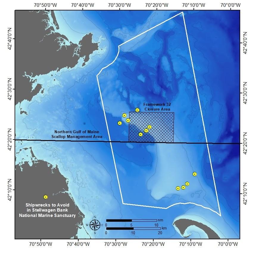 Location of Shipwrecks to Avoid on Stellwagen Bank