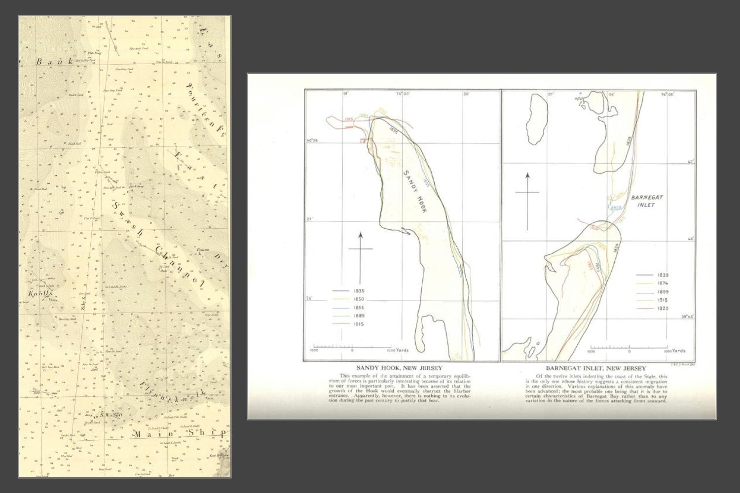 image shows two panels side by side. The panel on the left is a monotone chart of ocean depths and channels. The panel on the right shows a hand drawn map of sand deposits in two New Jersey estuaries. Coastlines are drawn at various years from 1835 to 1920.