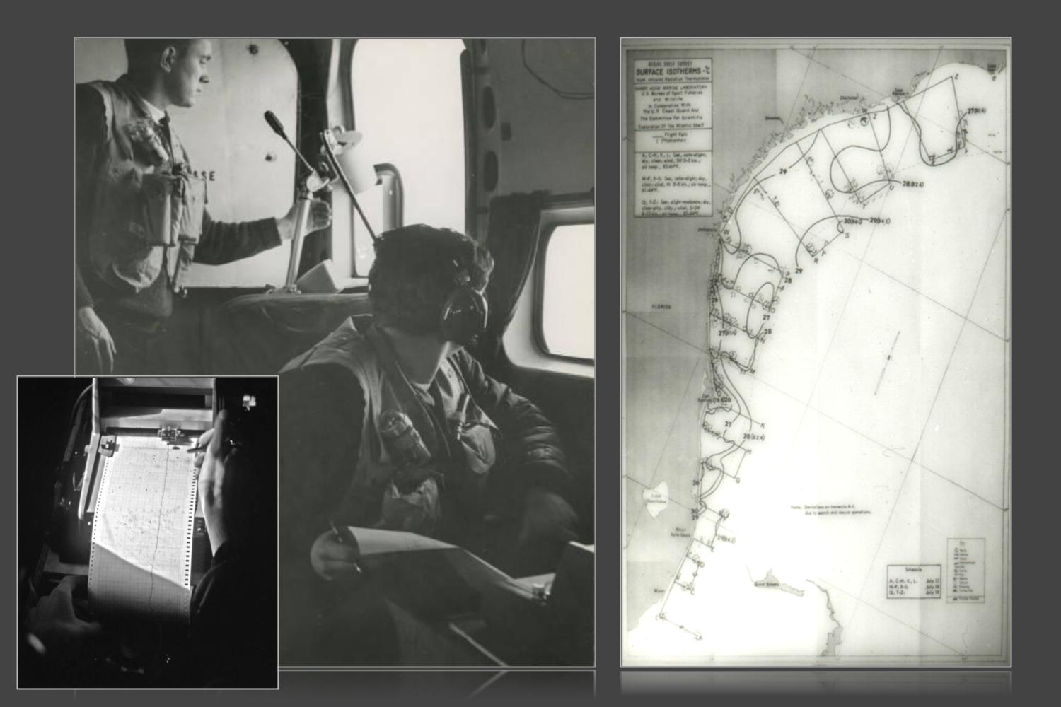image shows three panels side by side. A small panel on the left shows a person's hand near the paper output of a scientific instrument. The middle panel shows two people operating instruments aboard an aircraft. One person is standing looking down at the instrument and the other is seated, looking out the plane's window. The panel to the right is a hand drawn chart of isotherms.