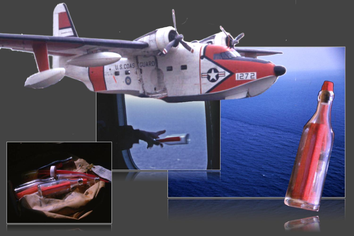 Image is a collage of three panels. The panel on the left shows drifter bottles in a bag.  a researcher aboard an aircraft seated in front of a navigational chart. The center panel shows a person's hand throwing a drifter bottle out of the window of a plane. A Coast Guard propeller engined aircraft hovers at the top of the collage. The third panel shows a view of an ocean current front taken from an aircraft.