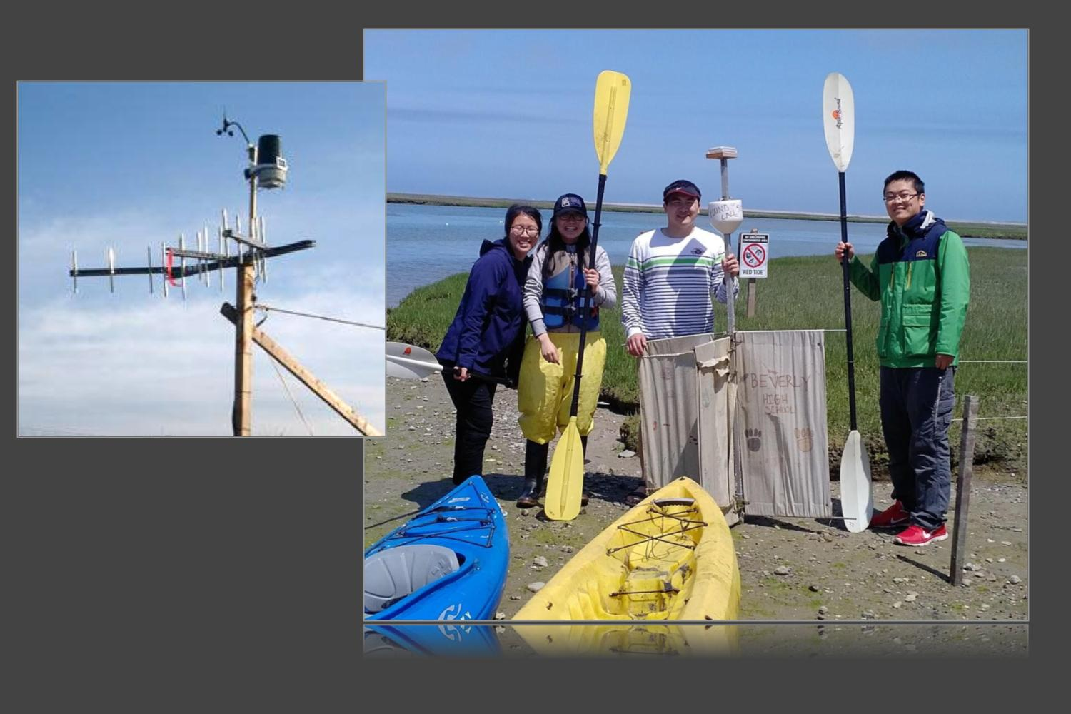 Image shows two panels side by side. The first panel shows a radar antenna. The second panel shows four people standing on the shore at the side of a GPS-enabled current drifter. One person is holding the drifter and two people are holding kayak oars.
