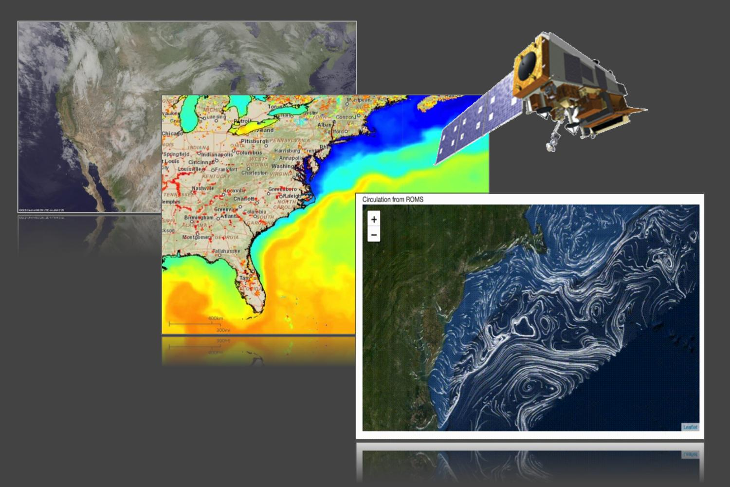image shows three panels. The panel on the left shows a satellite cloud cover image of the United States. The center panel shows a colorful sea surface temperature map of the east coast with a weather satellite imposed over the corner of the map. The third panel shows moving white vector lines of current patterns off the East Coast.
