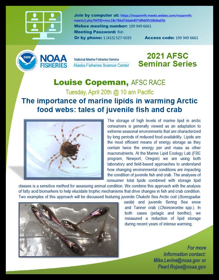 Louise Copeman Alaska Fisheries Science Seminar Series event poster.