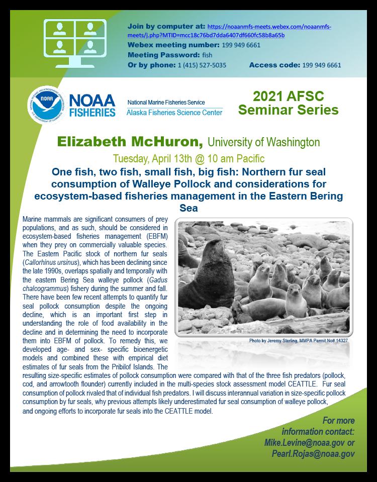Elizabeth McHuron Alaska Fisheries Science Seminar Series event poster.