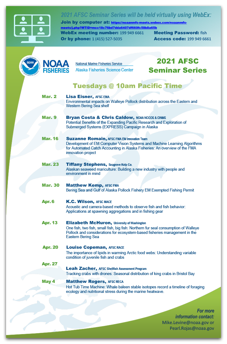 Alaska Fisheries Science Center 2021 Seminar Series schedule poster.