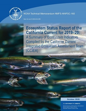 The front cover of the 2019-2020 Ecosystem Status Report on the California Current showing the title with a background close-up of forage fish.