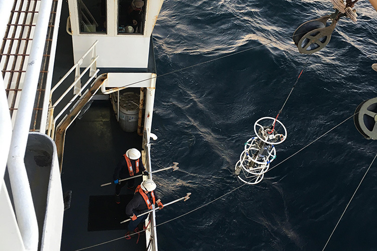 Two scientist with hooks to retrieve equipment.