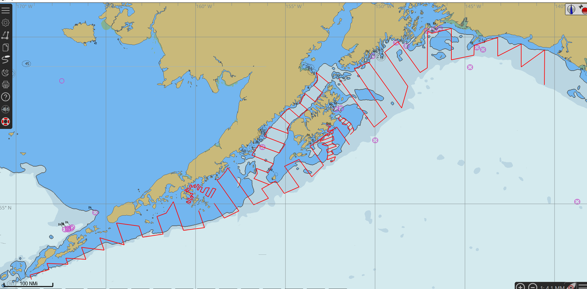 Map of survey transect lines along the Gulf of Alaska.