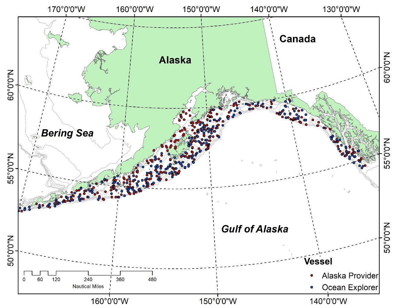 Map of Gulf of Alaska with proposed sample stations marked.
