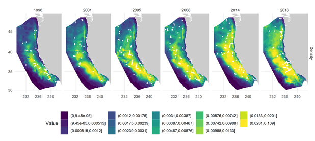 Six maps showing  humpback whale species distribution modeling in the California Current from 1996 through 2018