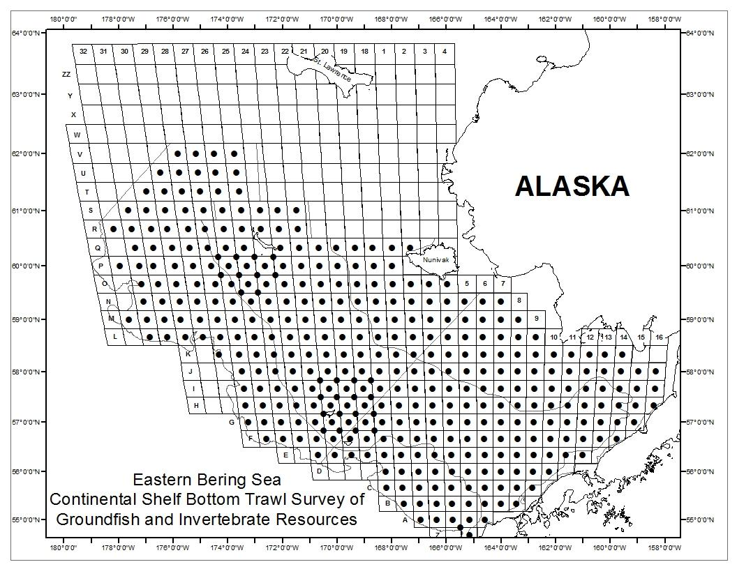 Map of eastern Bering Sea survey stations.