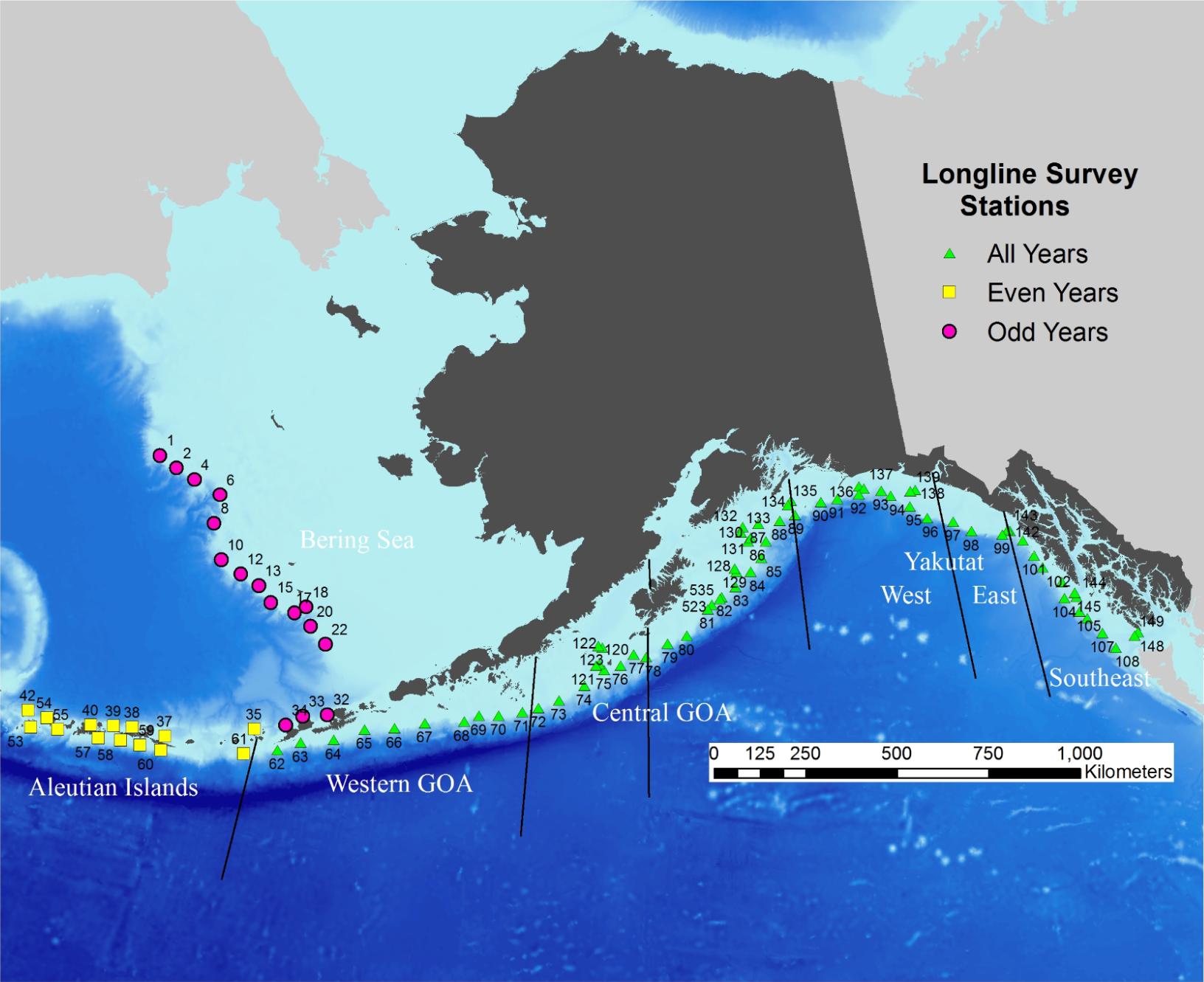 Map of longline survey stations in Alaska.